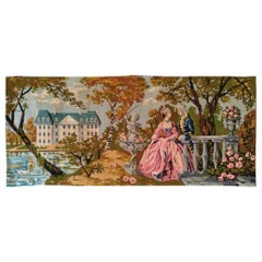 1014 - Beautiful French Antique Needlepoint Tapestry