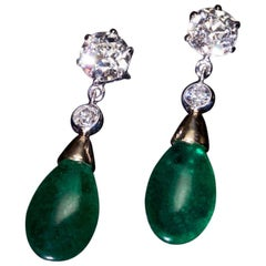 10.14 Carat Brazilian Emerald and Old Cut Diamond Drop Earrings