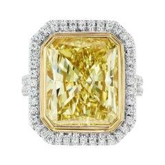 10.14 Carat Fancy Yellow GIA VS1 Diamond Radiant Plat & 18kt. Halo