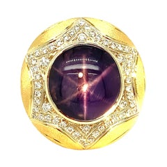 10.14 Carat Purple Star Sapphire and Diamond Yellow Gold Dome Cocktail Ring