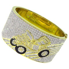 10.15 Carat Diamond Onyx Gold Vintage Car Bangle