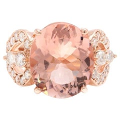 10.15 Carat Exquisite Natural Morganite and Diamond 14K Solid Rose Gold Ring
