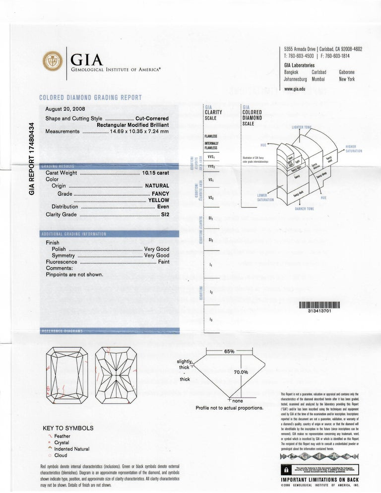 Women's 10.15 Carat Fancy Yellow Radiant Cut Diamond Ring, GIA For Sale