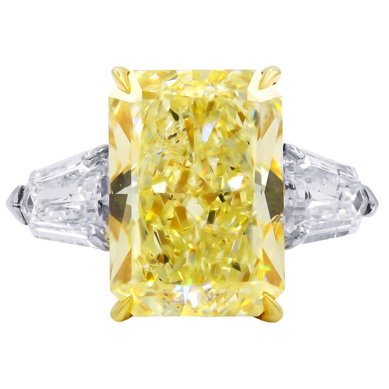 10.15 Carat Fancy Yellow Radiant Cut Diamond Ring, GIA