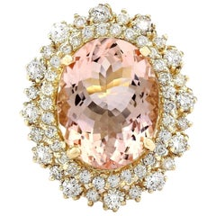 10.15 Carat Morganite 18 Karat Solid Yellow Gold Diamond Ring