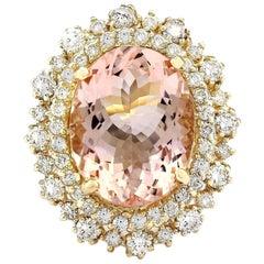10.15 Carat Morganite 18 Karat Solid Yellow Gold Diamond Ring