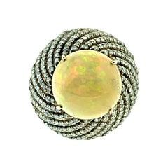 10.15 Carat Opal, 2.14 Carat Diamond Ring in 18 Karat