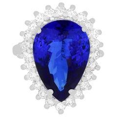 10.15 Carat Pear Shaped Tanzanite and 0.81 Carat White Diamond Ring