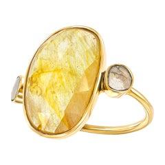 10.15 Carat Rose Cut Sapphire Diamond 18 Karat Yellow Gold Tresor Artisan Ring