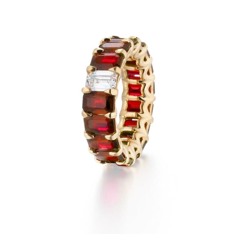 10.15 Carat Ruby and Diamond Emerald Cut Eternity Band Ring In New Condition For Sale In New York, NY