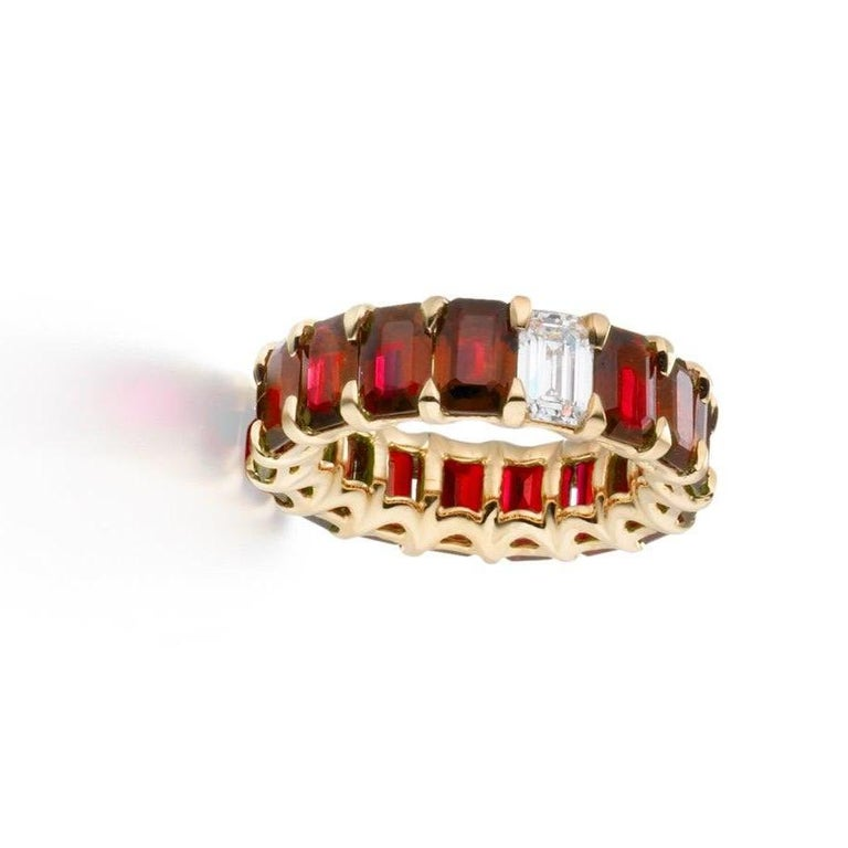 Women's 10.15 Carat Ruby and Diamond Emerald Cut Eternity Band Ring For Sale