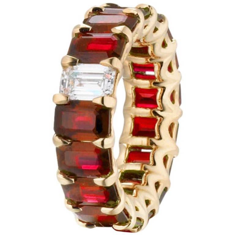 10.15 Carat Ruby and Diamond Emerald Cut Eternity Band Ring For Sale