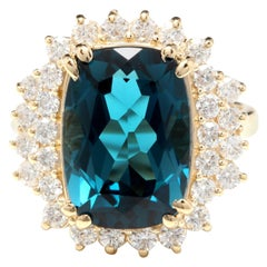10.15 Ct Natural Impressive London Blue Topaz and Diamond 14k Yellow Gold Ring