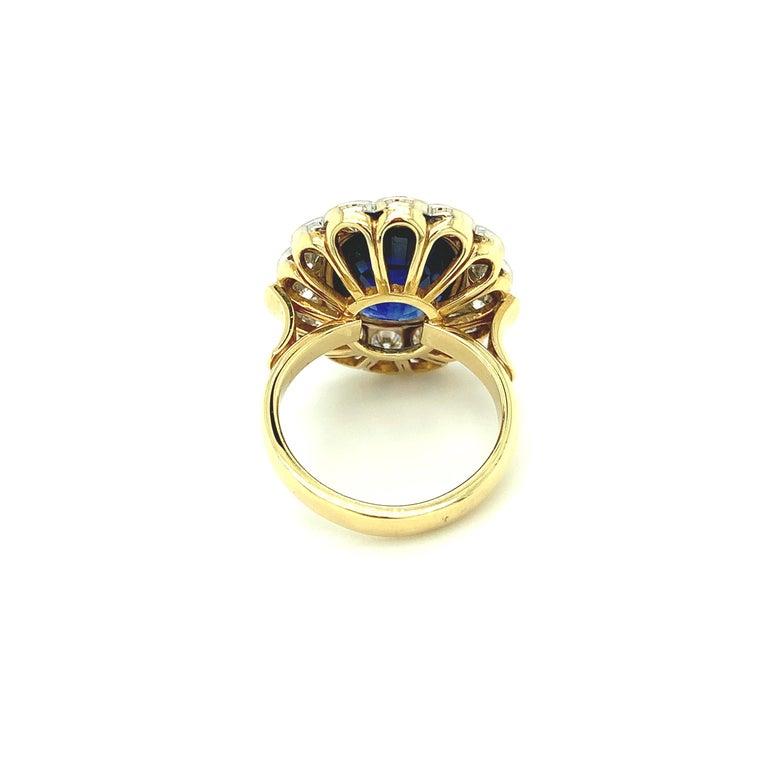 10.16 Carat Ceylon Blue Sapphire GIA, Diamond, Yellow, White Gold Cocktail Ring For Sale 4