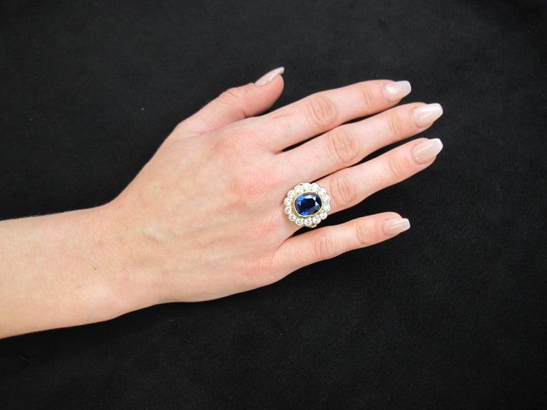 10.16 Carat Ceylon Blue Sapphire GIA, Diamond, Yellow, White Gold Cocktail Ring For Sale 6