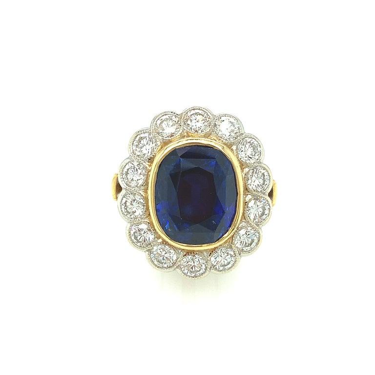 Artisan 10.16 Carat Ceylon Blue Sapphire GIA, Diamond, Yellow, White Gold Cocktail Ring For Sale