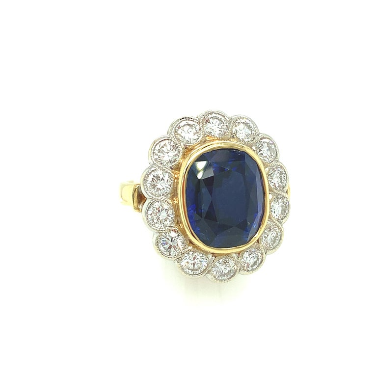Oval Cut 10.16 Carat Ceylon Blue Sapphire GIA, Diamond, Yellow, White Gold Cocktail Ring For Sale