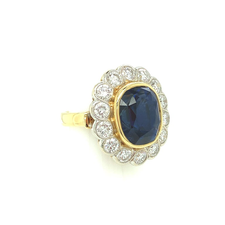 10.16 Carat Ceylon Blue Sapphire GIA, Diamond, Yellow, White Gold Cocktail Ring In New Condition For Sale In Los Angeles, CA
