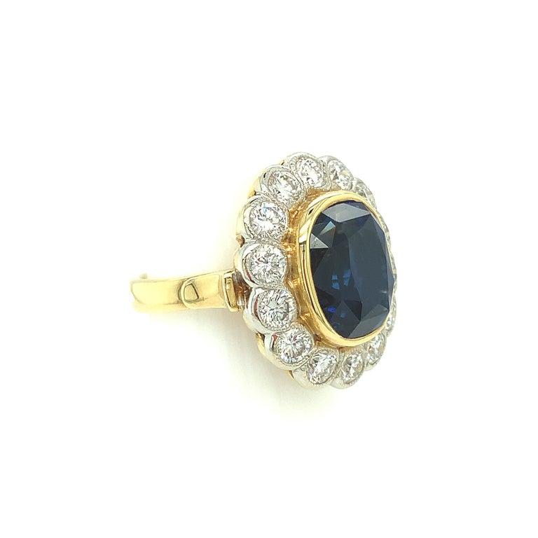 Women's 10.16 Carat Ceylon Blue Sapphire GIA, Diamond, Yellow, White Gold Cocktail Ring For Sale