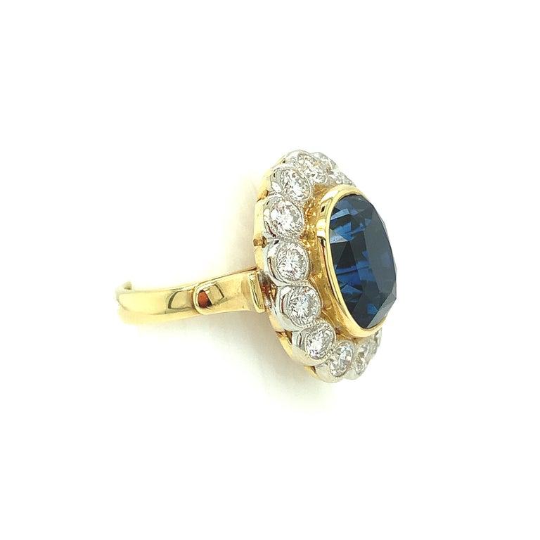 10.16 Carat Ceylon Blue Sapphire GIA, Diamond, Yellow, White Gold Cocktail Ring For Sale 1