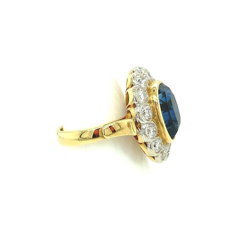 10.16 Carat Ceylon Blue Sapphire GIA, Diamond, Yellow, White Gold Cocktail Ring For Sale 2