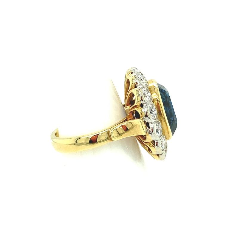 10.16 Carat Ceylon Blue Sapphire GIA, Diamond, Yellow, White Gold Cocktail Ring For Sale 3
