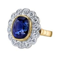 10.16 Carat Ceylon Blue Sapphire GIA, Diamond, Yellow, White Gold Cocktail Ring