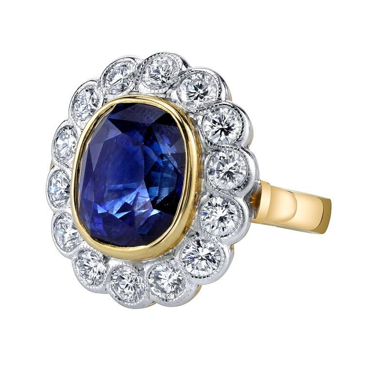 10.16 Carat Ceylon Blue Sapphire GIA, Diamond, Yellow, White Gold Cocktail Ring For Sale