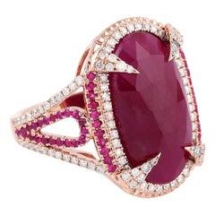 10.16 Carat Ruby Diamond 18 Karat Gold Ring