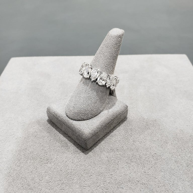 Contemporary Roman Malakov 10.17 Carat Pear-Shape Diamond Platinum Eternity Wedding Band For Sale