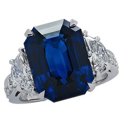 10.17 Carat Sapphire and Diamond Three-Stone Ring