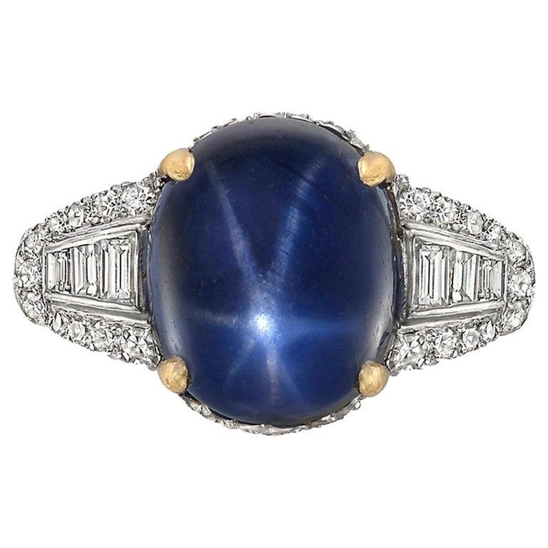 Round Cut 10.18 Carat Burmese Star Sapphire and Diamond Ring For Sale