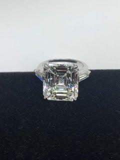 10.18 Carat Emerald Cut Diamond Set in Platinum Ring