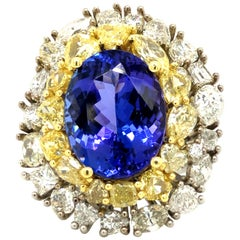 10.18 Carat Tanzanite and 7.75 Carat Fancy Shaped Diamonds Ring