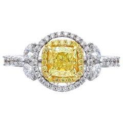 1.01 Carat Cushion Yellow Diamond Engagement Ring, R891
