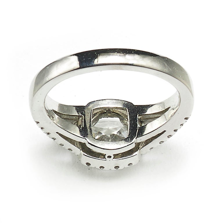 Modern 1.01 Carat D SI1 Cushion Diamond Platinum Ring For Sale