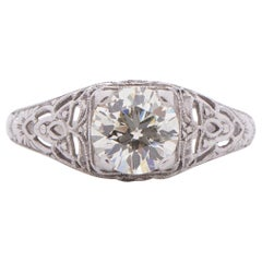 1.02 Carat Art Deco Diamond Platinum Engagement Ring
