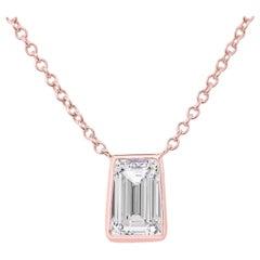 1.02 Carat Asscher Cut Diamond Pendant Necklace e vs1