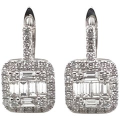 1.02 Carat Baguette and Round Diamond Earrings