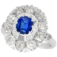 1.02 Carat Basaltic Sapphire and 1.85 Carat Diamond White Gold Cluster Ring