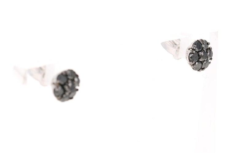 Modern 1.02 Carat Black Diamond Flower Design 14 Karat White Gold Stud Earrings For Sale