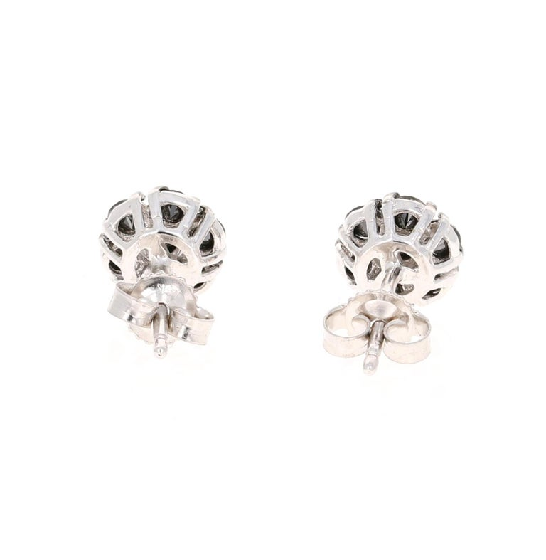 1.02 Carat Black Diamond Flower Design 14 Karat White Gold Stud Earrings In New Condition For Sale In Los Angeles, CA
