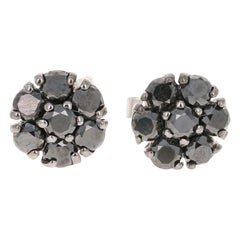 1.02 Carat Black Diamond Flower Design 14 Karat White Gold Stud Earrings