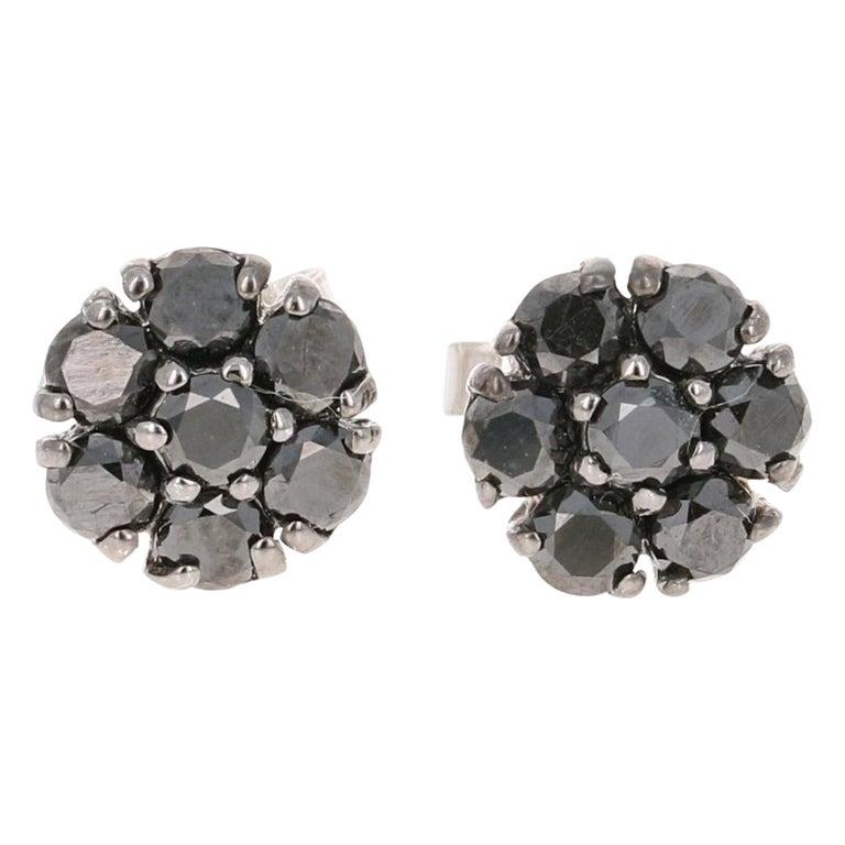 1.02 Carat Black Diamond Flower Design 14 Karat White Gold Stud Earrings For Sale