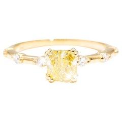 1.02 Carat Certified Cushion Cut Yellow Diamond Engagement Ring in 18 Carat Gold
