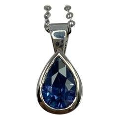 1.02 Carat Ceylon Blue Sapphire 18k White Gold Rubover Bezel Pendant Necklace