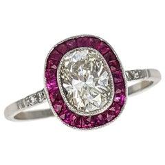 1.02 Carat Cushion Cut Diamond Ruby Halo Platinum Engagement Ring