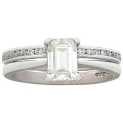 1.02 Carat Diamond and Platinum Solitaire and Half-Eternity Ring