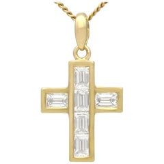 1.02 Carat Diamond and White Gold Cross Pendant