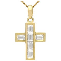 1.02 Carat Diamond and White Gold Cross Pendant